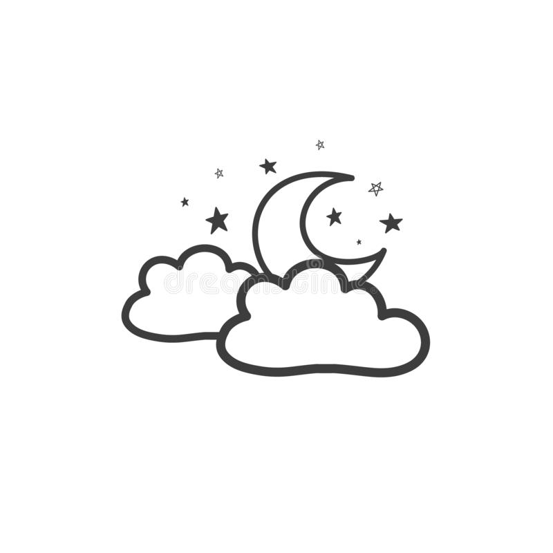 A drawing of the moon with clouds. The Weather Symbol. Vector doodle vector illustration
