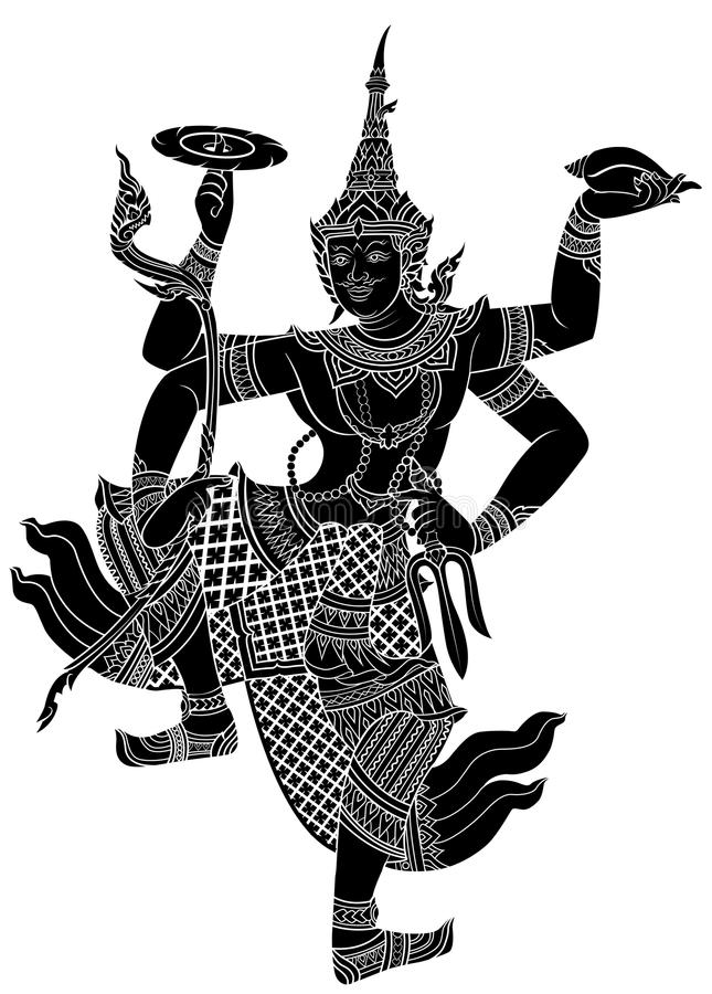 Drawing of Narayana silhouetted. On white background stock illustration