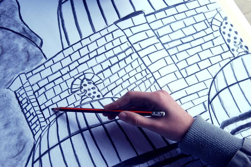 Drawing the object/ concept stock photography