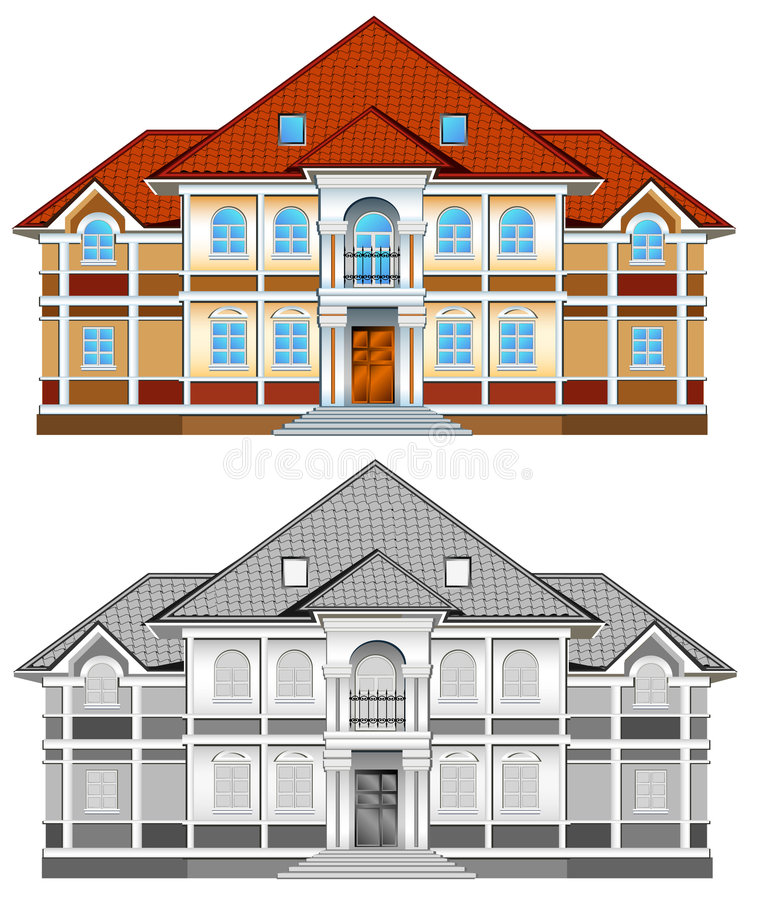 Free Drawing Of Country Residence Royalty Free Stock Photography - 5370777