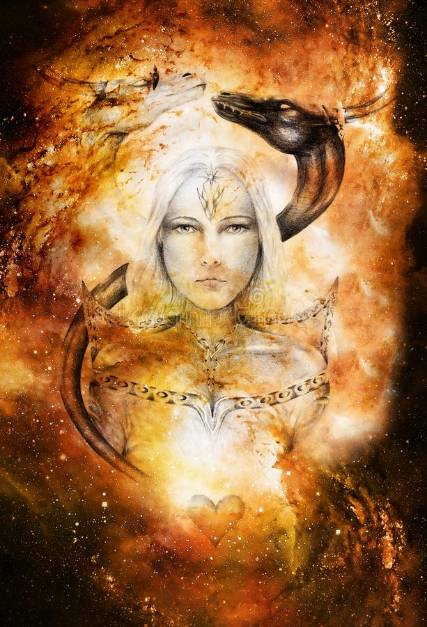 Free Drawing Of Mystical Young Woman In Historic Dress With Two Dragon Heads Above Her. Cosmic Space, Royalty Free Stock Image - 140293416
