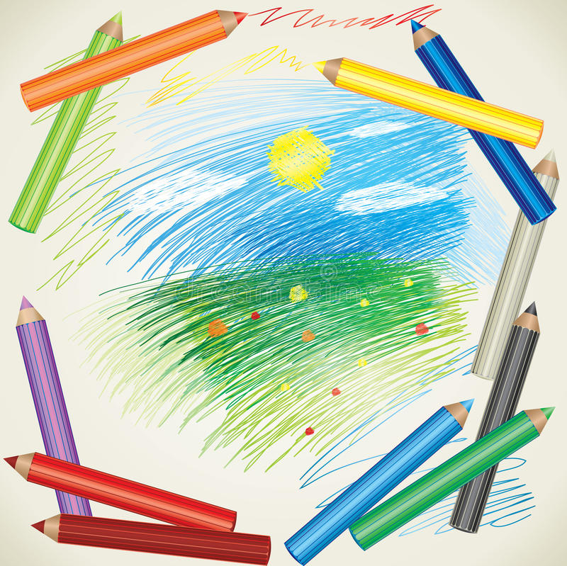 Free Drawing Of Summer Landscape And Color Pencils Royalty Free Stock Photos - 15001188