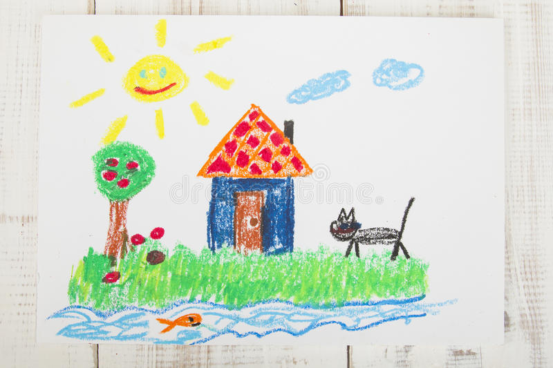 Drawing oil pastels royalty free stock photo