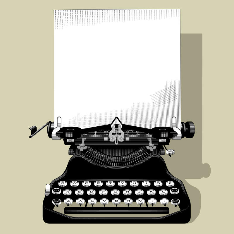 Drawing of old typewriter with a paper in black and white vintage stock illustration
