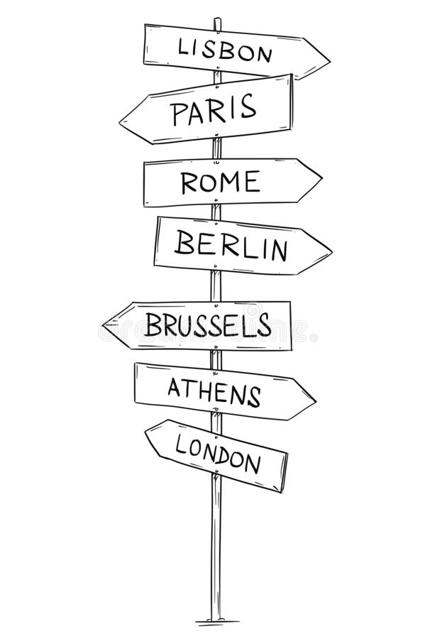 Drawing of Old Wooden Road Directional Arrow Sign With Western European Cities royalty free illustration