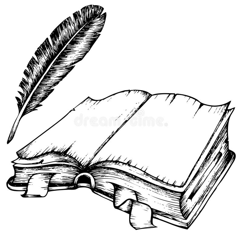 Drawing Of Opened Book With Feather Stock Vector