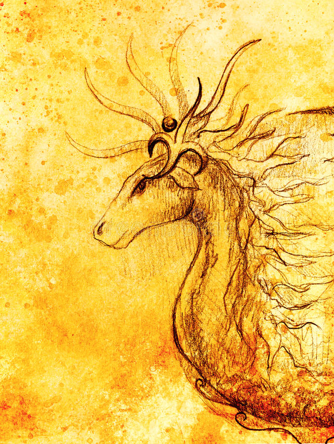 Drawing of ornamental animal on old paper background and sepia color structure. Drawing of ornamental animal on old paper background and sepia color structure royalty free illustration