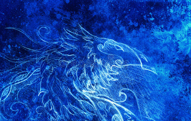 Drawing of ornamental dragon. computer collage and blue color structure. Winter effect. Drawing of ornamental dragon. computer collage and blue color structure vector illustration