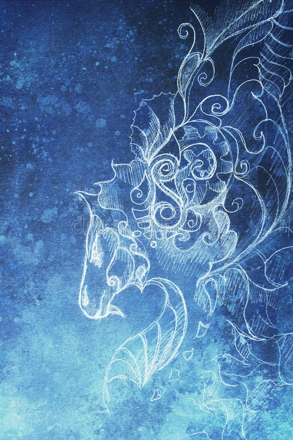 Drawing of ornamental dragon. computer collage and blue color structure. Winter effect. Drawing of ornamental dragon. computer collage and blue color structure royalty free illustration