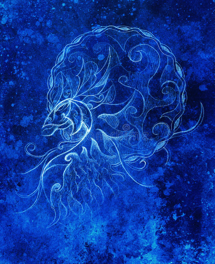 Drawing of ornamental dragon. computer collage and blue color structure. Winter effect. Drawing of ornamental dragon. computer collage and blue color structure stock illustration