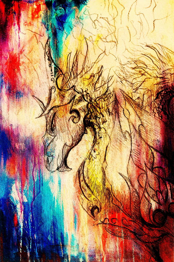 Drawing of ornamental dragon on old paper background computer collage. and color structure. Drawing of ornamental dragon on old paper background computer vector illustration