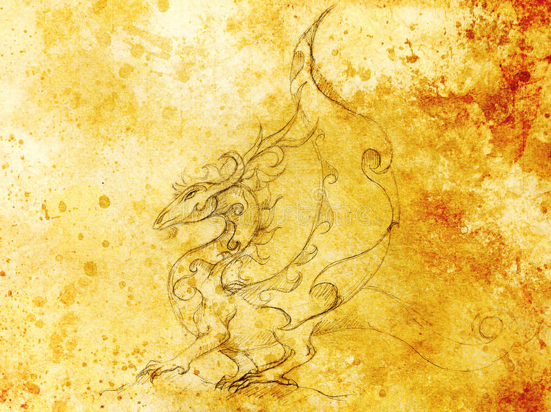 Drawing of ornamental dragon on old paper background and sepia color structure. Drawing of ornamental dragon on old paper background and sepia color structure royalty free illustration