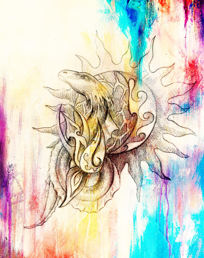 Drawing of ornamental dragon and sun on old paper background computer collage. and color structure. Drawing of ornamental dragon and sun on old paper background vector illustration