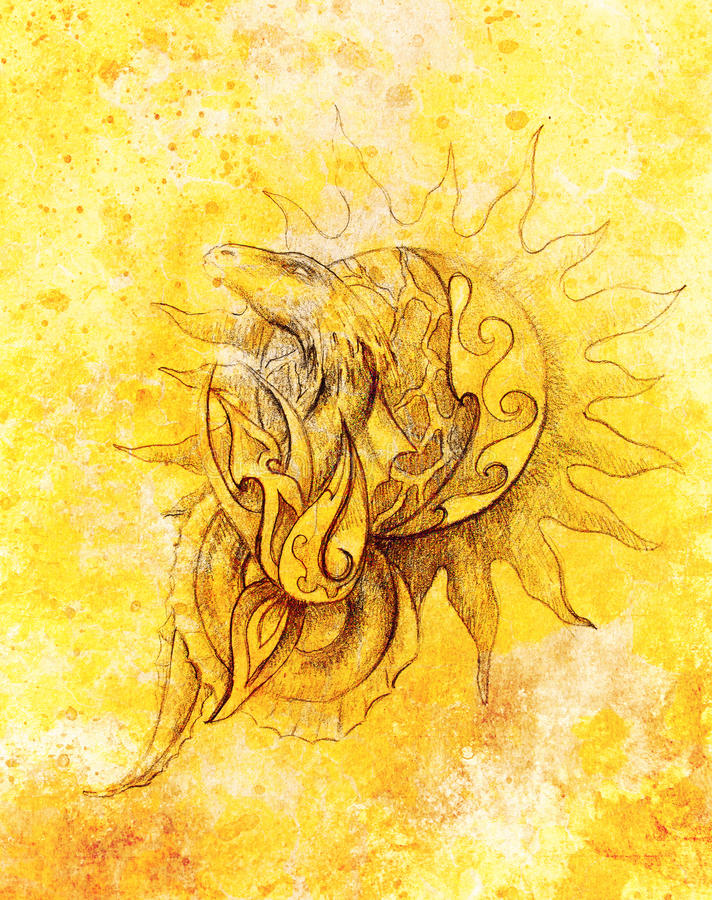Drawing of ornamental dragon and sun on old paper background computer collage. and color structure. Drawing of ornamental dragon and sun on old paper background stock illustration