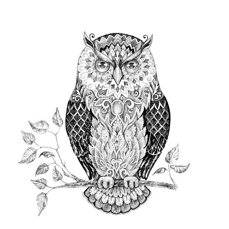 Afbeelding Cupcake Kleurplaat Drawing Owl With Beautiful Patterns Stock Illustration