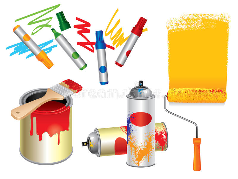 Drawing and Painting Tools stock illustration
