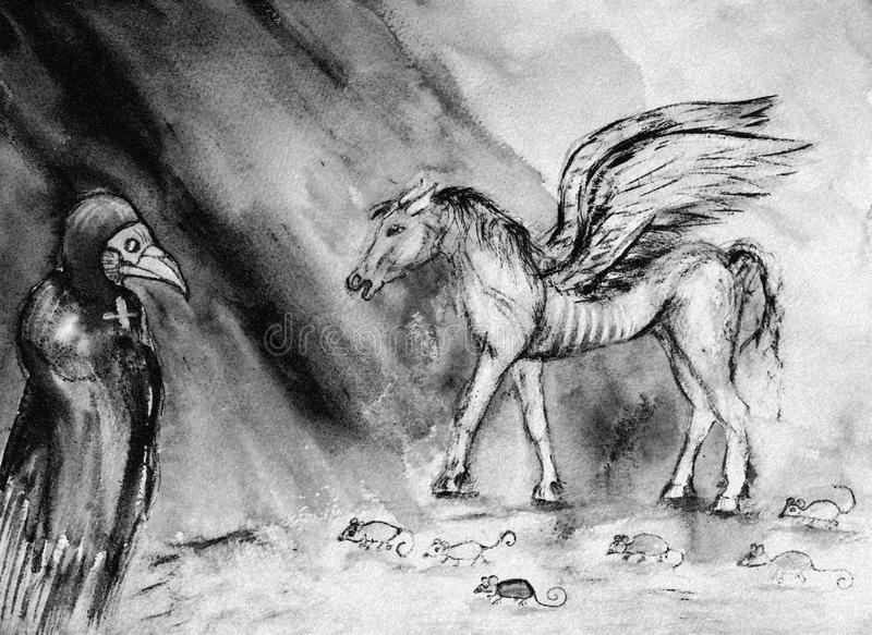 Drawing of pale horse of the apocalypse in black and white. vector illustration