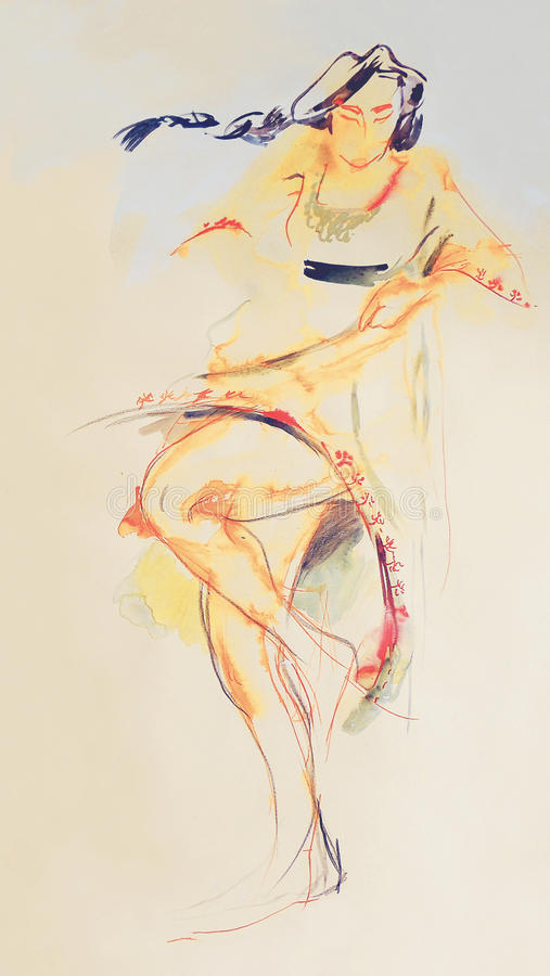 Drawing on paper of Bulgarian dancing folklore girl stock photos