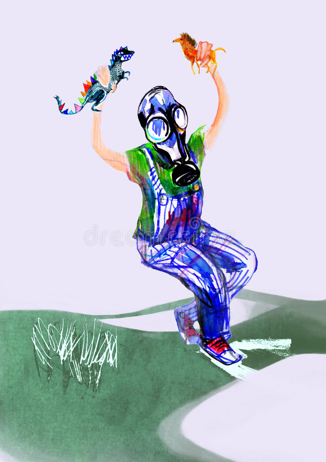 Drawing on paper of child in gas mask, playing with toys royalty free stock photography