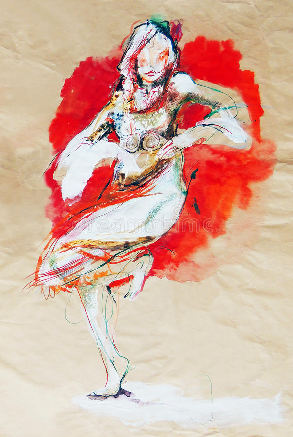Drawing on paper of dancing Bulgarian folklore girl royalty free stock photos