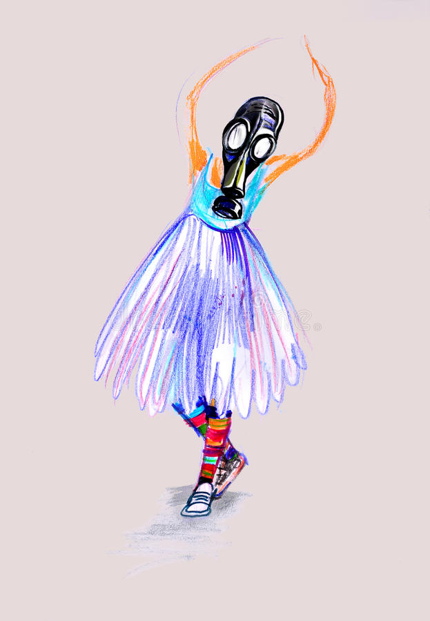 Drawing on paper of girl in gas mask, playing ballet stock image
