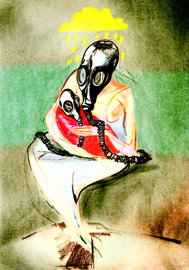 Drawing on paper of mother in gas mask, holding her baby in gas mask. Crop ratio 1 x 1.5 vector illustration