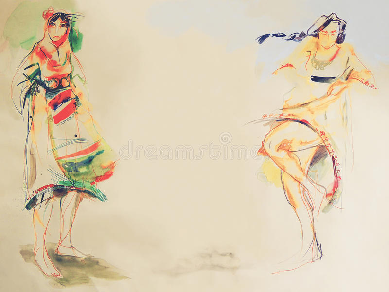 Drawing on paper of two Bulgarian folklore women royalty free stock images