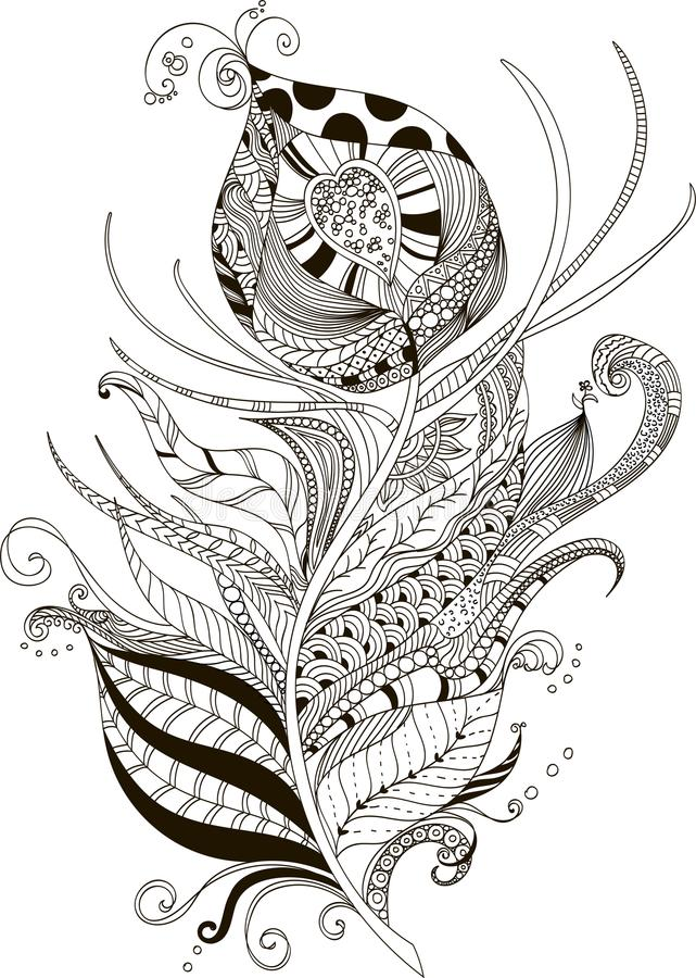 Abstract illustration of peacock feather in doodle style royalty free illustration