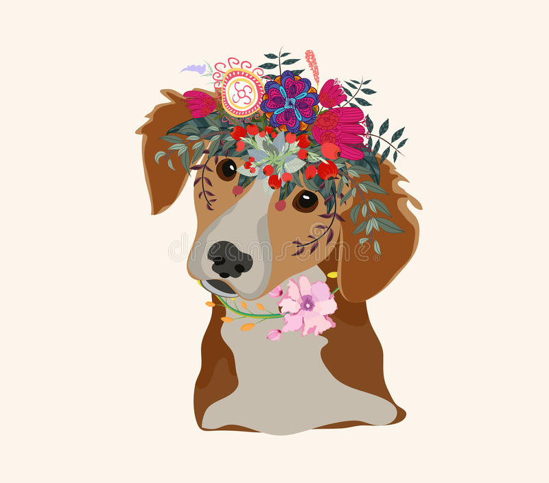 Drawing pen dog face, macaque portrait with beautiful flowers on the head, floral wreath royalty free illustration