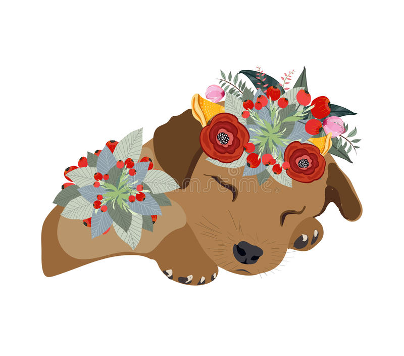 Drawing pen dog face, macaque portrait with beautiful flowers on the head, floral wreath.  stock illustration