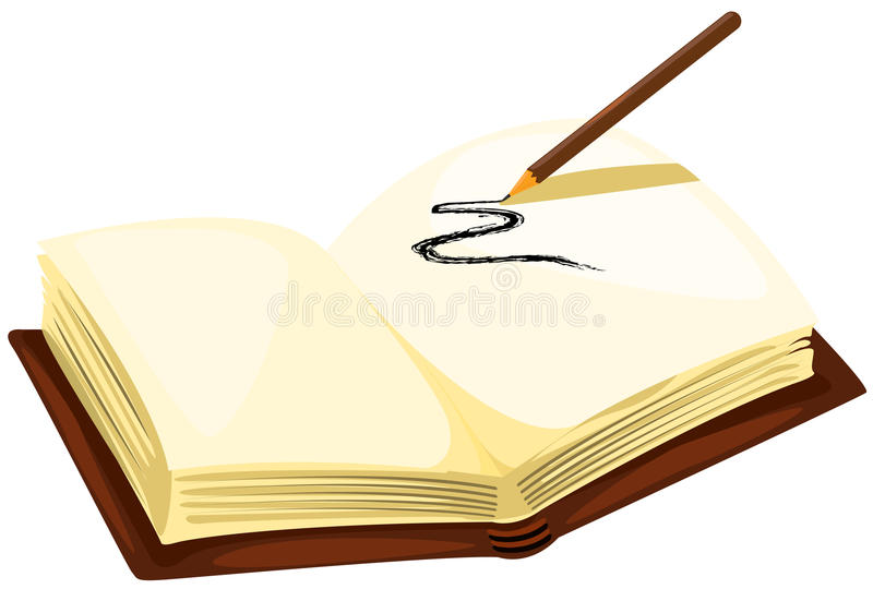 Drawing pencil with empty book. Illustration of isolated drawing pencil with empty book on white royalty free illustration
