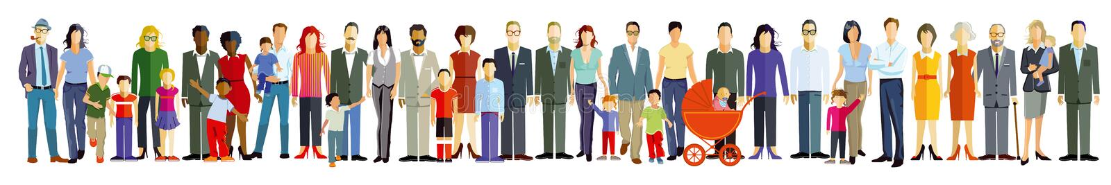 Drawing of people in line. A drawing of people with diverse ethnicities and ages in a line
