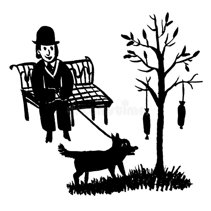 Drawing picture of a man sitting on a park bench and walking a dog by a tree on which hanging sausages, sketch,doo vector illustration