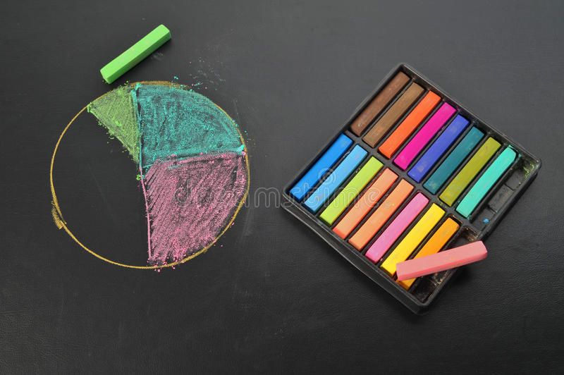 Drawing Pie chart with pastel on black sheet. Drawing Pie chart with pastel on black leather sheet royalty free stock images