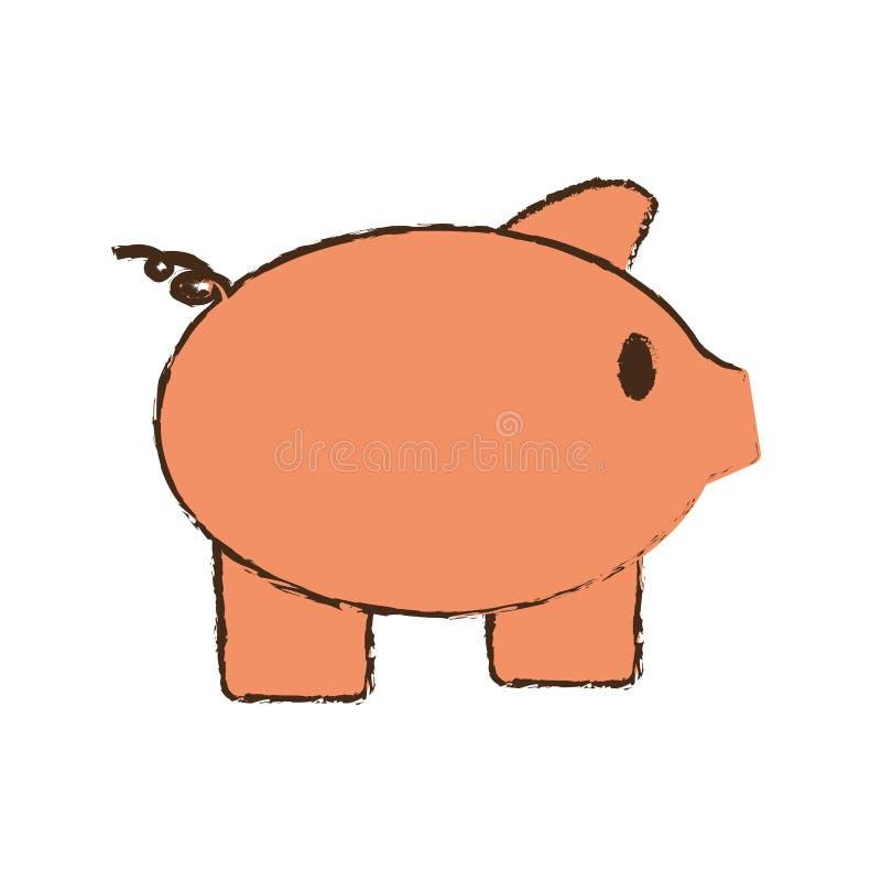drawing pink piggy save money bank royalty free illustration