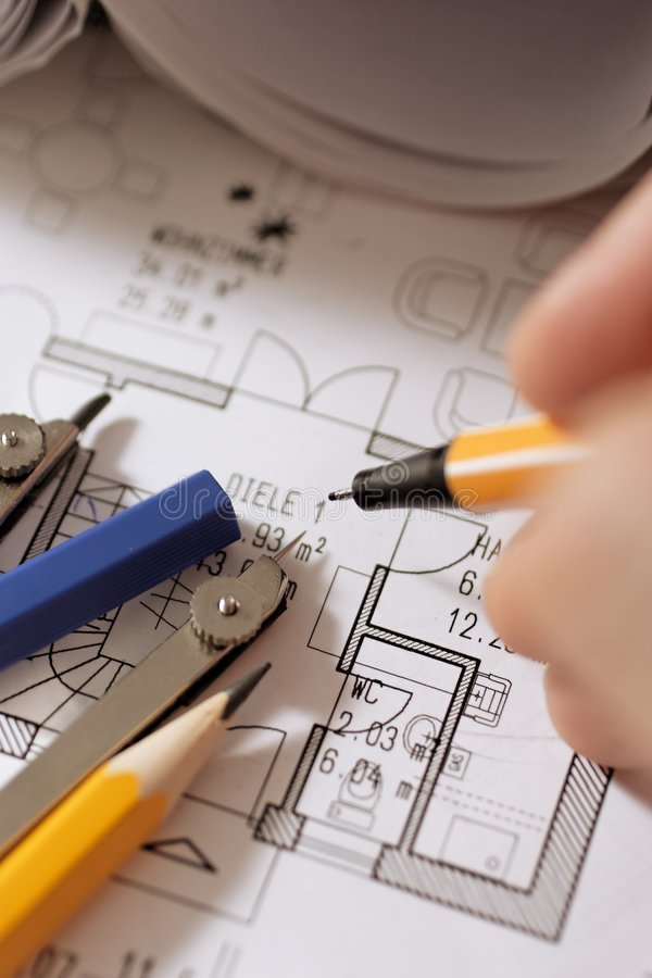 Drawing plan royalty free stock photography