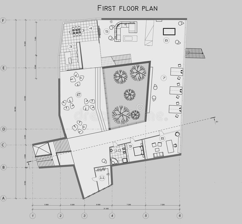 The drawing of the plan of the first level of the private house. The drawing of the plan of the 1st level of the private house vector illustration