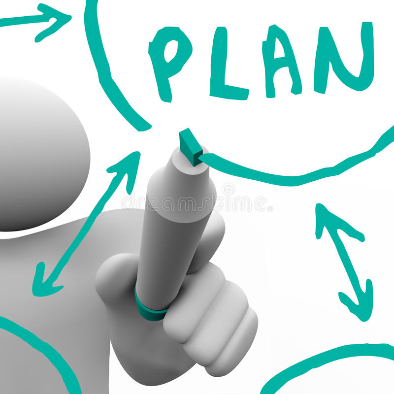 Drawing Plan Flowchart on Board. A person draws a flowchart on a board with a marker, with the word Plan in big letters vector illustration