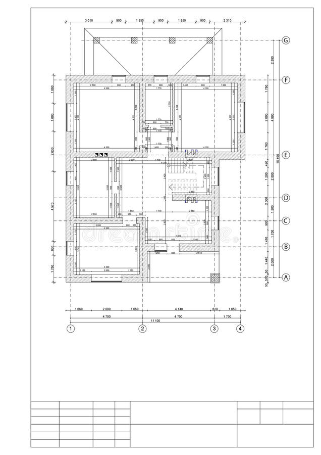 Drawing of the plan of the second floor private 2 floor houses. Drawing of the plan of the second floor private 2 floor house stock illustration