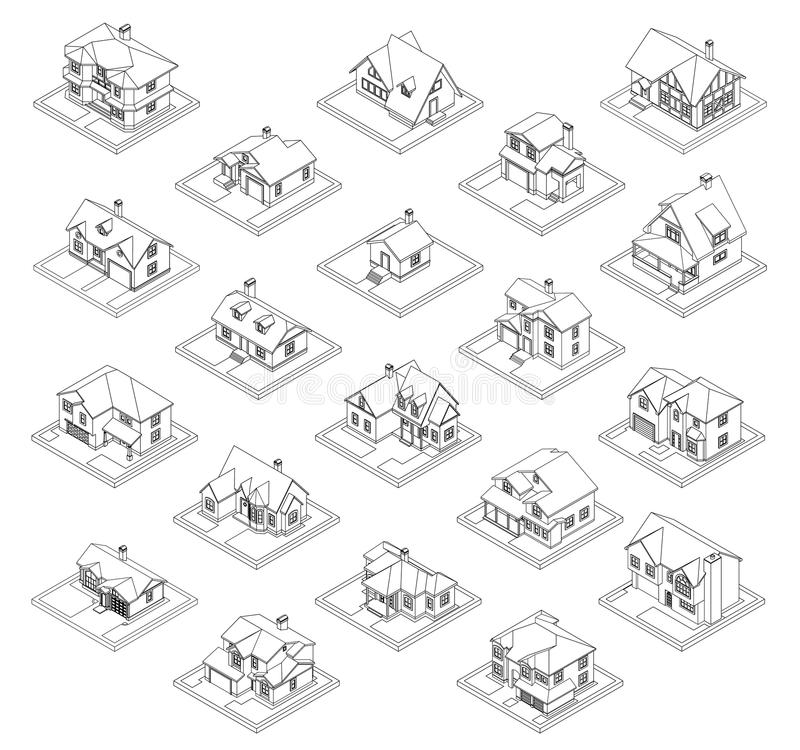Drawing of private house set vector illustration