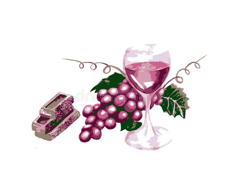 Drawing purple grapes with leaves, wine in wineglass vector illustration