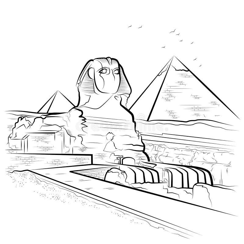 Drawing pyramids and sphinx in giza egypt stock vector - Dessin de pyramide ...