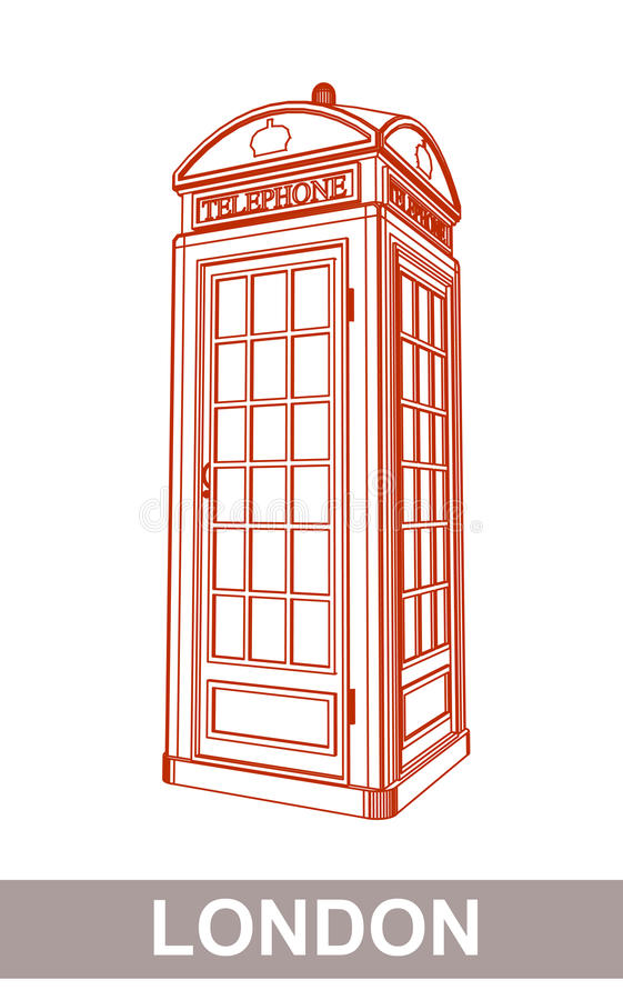 Drawing of Red Booth. Detail Drawing of Classic London Red Telephone Booth stock illustration
