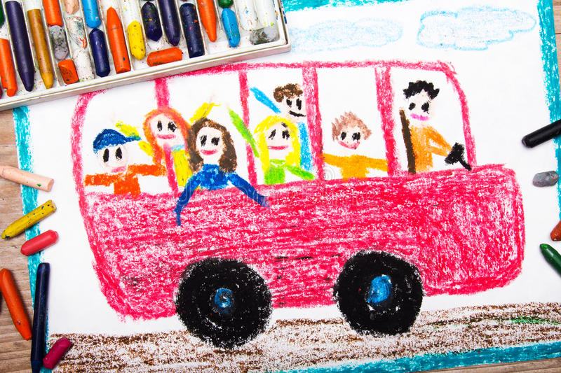 Drawing - red school bus with happy children inside stock image
