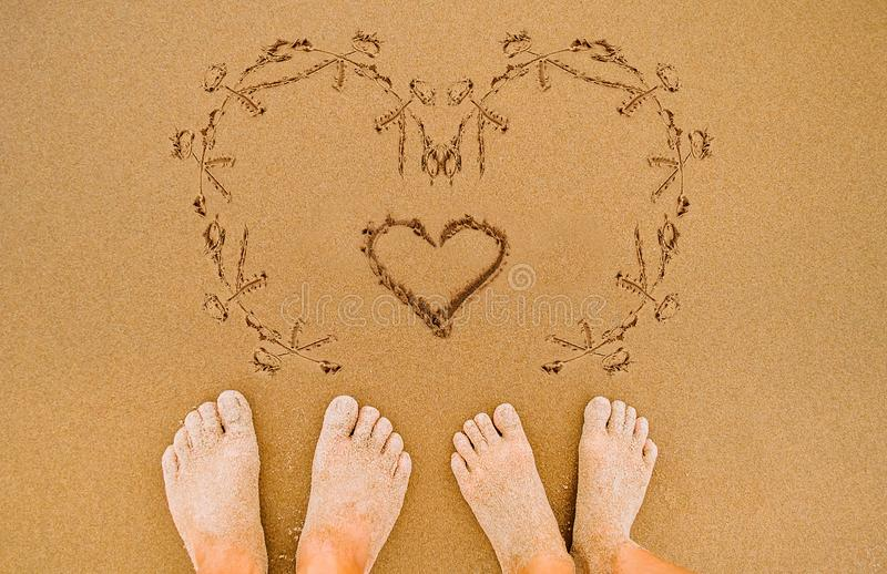 Drawing Romantic Love Heart On Beach Stock Photo Image Of Lover Written 112801114