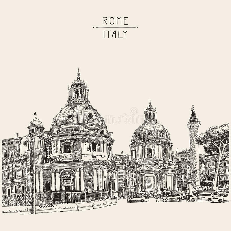 Drawing of Rome Italy cityscape with lettering inscription for y stock illustration
