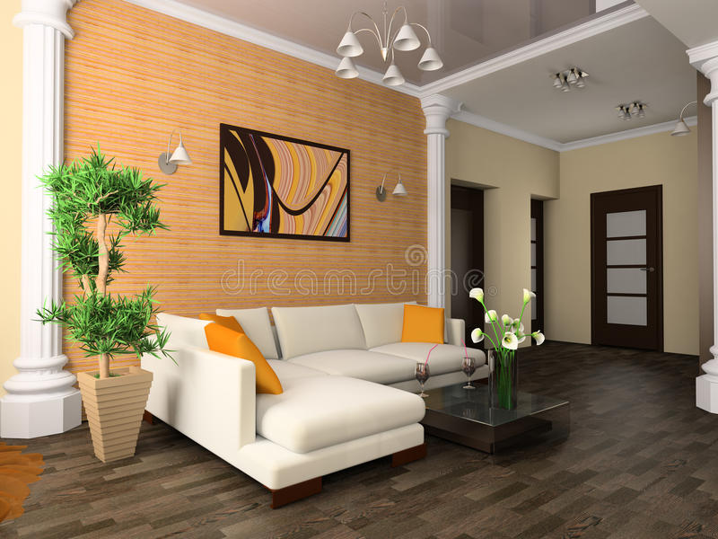 Drawing room. White sofa in a drawing room 3d image royalty free illustration