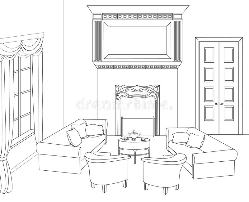 Download Drawing Room With Fireplace. Editable Vector Furniture. Interior  In Retro Style Stock