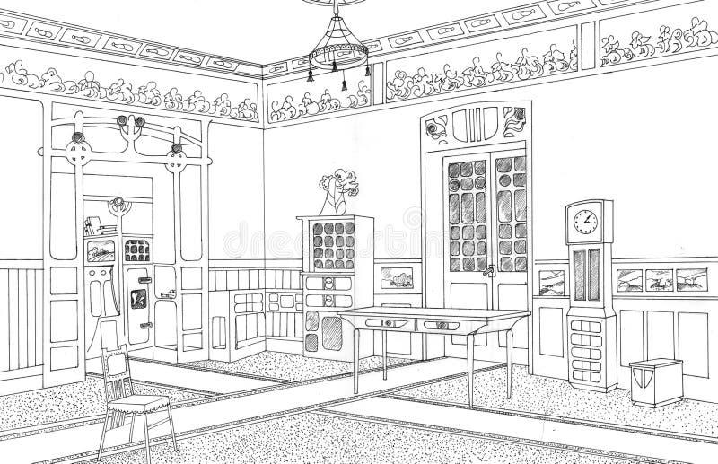 Download Drawing Room Interior Art Nouveau Stock Illustration