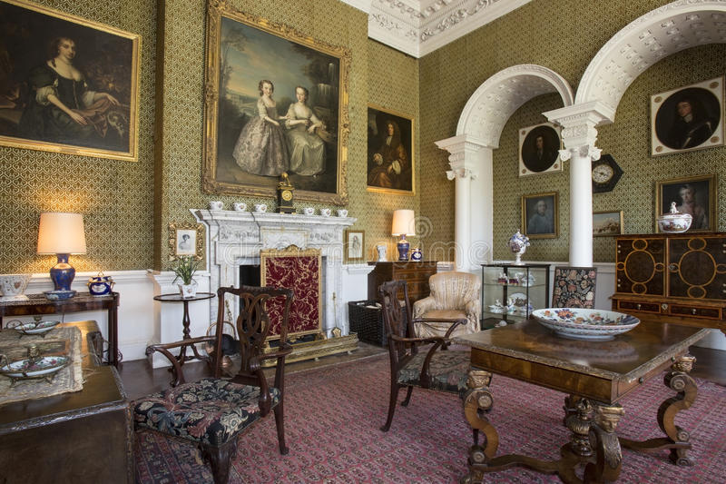 Drawing Room - Manor House - Yorkshire - England. Drawing room in the interior of a large country manor house or stately home - Yorkshire in north east England stock image